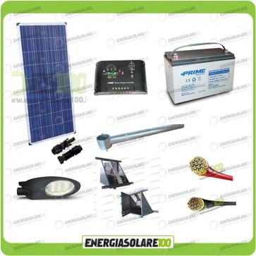 Kit Illuminazione Stradale a Led 25W 12V 100Ah Agm Luce Calda Pannello Solare