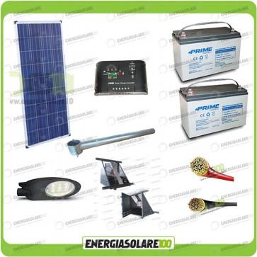Kit Illuminazione Stradale a Led 34W 12V Batteria 150Ah Agm Luce Neutra Pannello Solare