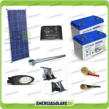 Kit Illuminazione Stradale a Led 34W 12V 150Ah Gel Luce Neutra Pannello Solare
