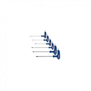 Cacciaviti chiavi maschio esagonali T ball point piegate con impugnatura 6 pz