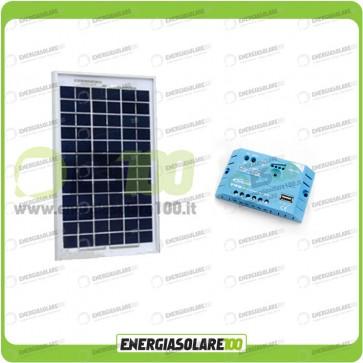 Kit Solare Fotovoltaico Campeggio Scout 5W 12V x alimentare Cellulare Luce e Stereo