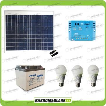 Kit Solare Fotovoltaico 50W 12V illuminazione Baita Rifugio di Montagna Casa di Campagna