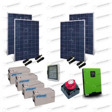 Kit Solare Casa al Mare non Connessa a Rete Enel 3kw 24V + Pannelli 1Kw + Batt AGM