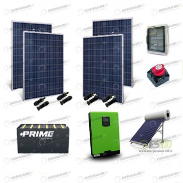 Kit Solare Casa al Mare non Connessa a Rete Enel 3kw 24V + Pannelli 1Kw + OPzS + Termico