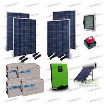Kit Solare Casa al Mare non Connessa a Rete Enel 3kw 24V + Pannelli 1Kw + Batt AGM + Termico