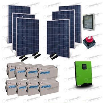 Kit Solare Casa al Mare non Connessa a Rete Enel 5kw 48V + Pannelli 1.6Kw + Batt AGM + Termico
