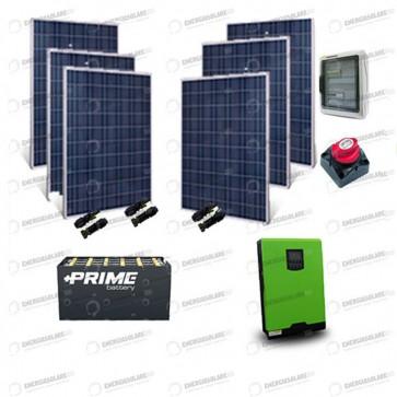 Kit Solare Casa al Mare non Connessa a Rete Enel 5kw 48V + Pannelli 1.6Kw + Batteria OPzS