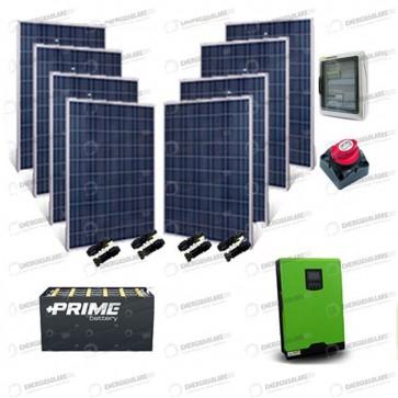 Kit Solare Casa al Mare non Connessa a Rete Enel 5kw 48V + Pannelli 2.1Kw + Batteria OPzS
