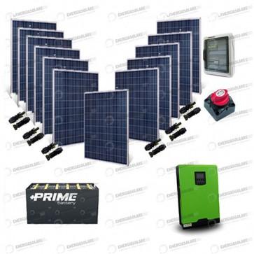 Kit Solare Casa al Mare non Connessa a Rete Enel 5kw 48V + Pannelli 3.2Kw + Batteria OPzS