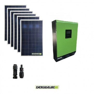 Kit Casa Solare Base 1500W Serie HF 48V Inverter Genius50 4000W 5000VA MPPT 80A con Display Remoto