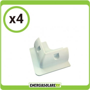 Set 4 Supporti Angolari bianchi ad Incollaggio Pannelli Solari Fotovoltaici Tetto Camper (Set Kit)