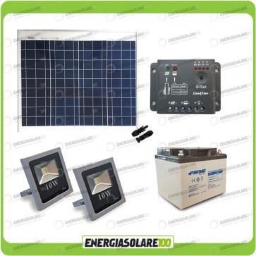 Kit illuminazione esterni pannello solare 50W con 2 fari LED 10W autonomia 8 ore