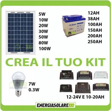 Kit Solare fai da te componibile 5w a 100w
