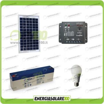 Kit illuminazione interni pannello solare 5W EJ lampadina LED 7W 12V per max 1 ora di funzionamento