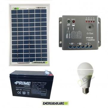 Kit illuminazione interni pannello solare 10W lampadina LED 7W 12V per max 3 ore di funzionamento