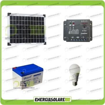 Kit illuminazione interni pannello solare 10W EJ lampada LED 7W 12V max 6 ore batteria UL