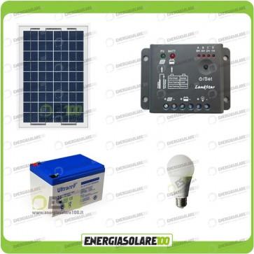 Kit illuminazione interni pannello solare 10W lampada LED 7W 12V max 6 ore batteria UL