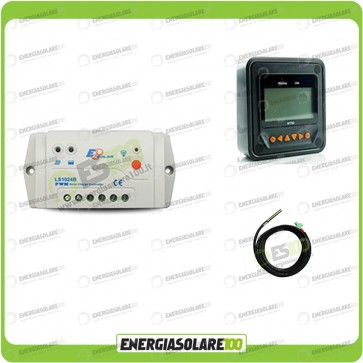 Kit regolatore di carica 10A 12-24V con display Mt-50 e sensore di temperatura (Set Kit)