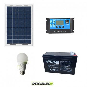 Kit illuminazione solare per 5 ore per stalle o baite con una lampad