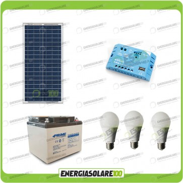 Kit illuminazione solare 30W per 5 ore per stalle o baite con 3 lampade 7W 12V regolatore EpSolar