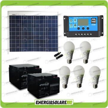 Kit illuminazione solare 50W 12V per 5 ore per stalle o baite con 5 lampade LED