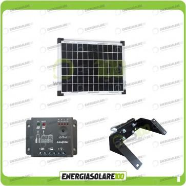 Kit Pannello Solare 10W 12V EJ regolatore di carica 5A Supporto di fissaggio testapalo
