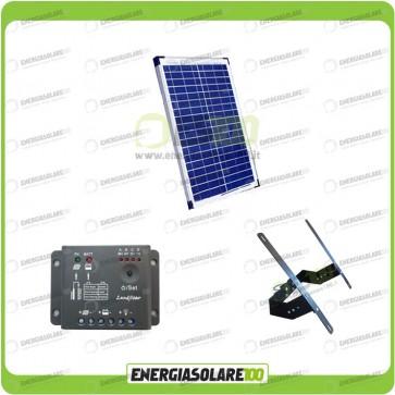 Kit Supporto con Pannello Solare 20W 12V con regolatore di carica 5A e Testapalo