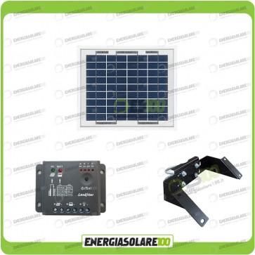 Kit Pannello Solare 5W 12V regolatore di carica 5A Supporto di fissaggio testapalo