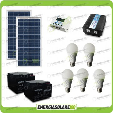 Kit Solare Fotovoltaico isolati dalla Civiltà 60W 12V x Luci e Cellulari Tablet + Inverter