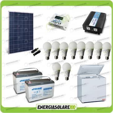 Kit Solare Fotovoltaico isolati dalla Civiltà 250W x Luci Frigo incluso Off-Grid