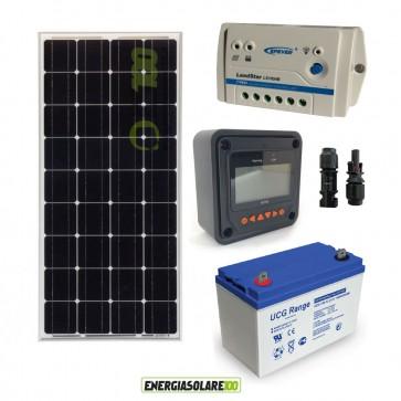 Kit Starter Solare Plus 100W 12V Monocristallino Batteria GEL 100Ah Regolatore PWM 10A Serie LS1024B con MT-50