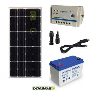 Kit Starter Solare Plus 100W 12V Monocristallino Batteria GEL 100Ah Regolatore PWM 10A Serie LS1024B con RS485