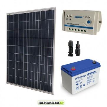 Kit Solare fotovoltaico con pannello 100W 12V Batteria Ultracell GEL 100Ah Regolatore PWM 10A LS1024B