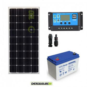 Kit Starter Solare Plus 100W 12V Monocristallino Batteria GEL 100Ah Regolatore PWM 10A Serie NV