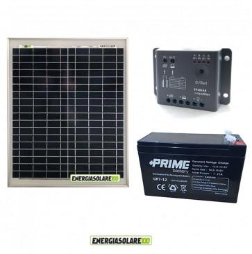 Kit Starter Plus 20W 12V Regolatore PWM 5A Epsolar Batteria AGM 7Ah