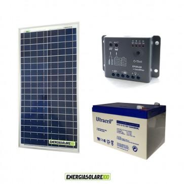 Kit Starter Plus NX 30W 12V Regolatore PWM 5A Epsolar Batteria GEL 12Ah