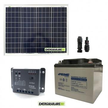 Kit Starter Plus 50W 12V Regolatore PWM 5A Epsolar Batteria AGM 38Ah Deep Cycle
