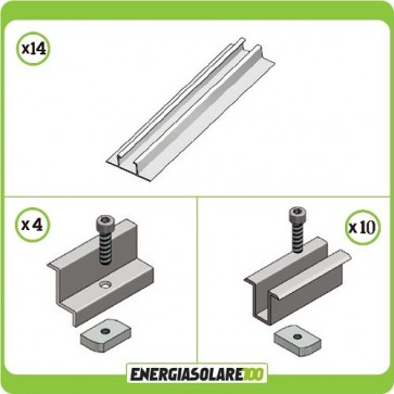 Kit Struttura per il montaggio di 6 Pannelli Solari in posizione Verticale spessore 35mm su tetto in Lamiera Grecata o Guaina Ardesiana