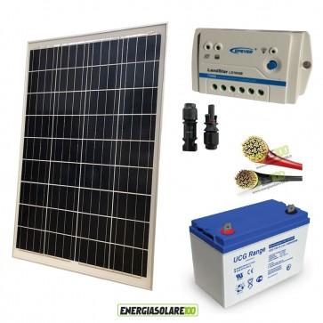 Kit Starter Pro 100W 12V Batteria GEL 100Ah Regolatore PWM 10A LS e Cavi 4mmq Solare