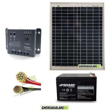 Kit Starter Pro EJ 20W 12V con batteria UL 12Ah e cavi 2.5mmq PVC