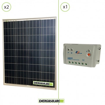 Kit Starter Solare Fotovoltaico  NX 160W 12V  Regolatore PWM 20A 12V Epsolar LS2024B