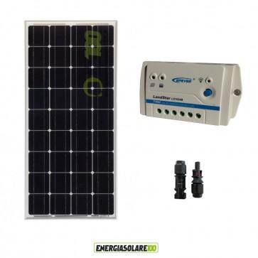 Kit Solare Fotovoltaico 100W 12V Monocristallino Regolatore LS1024B Camper Casa Baita Illuminazione