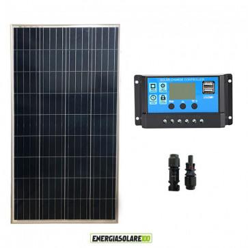 Kit Solare Fotovoltaico 150W 12V Regolatore PWM 10A Nvsolar Camper Casa Nautica Illuminazione