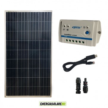 Kit Starter Pannello Solare 150W 12V  Regolatore PWM 10A 12V Epsolar serie LS con cavo USB-RS485