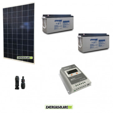 Kit Solare fotovoltaico pannello 280W alimentazione Video Sorveglianza 12volt per DVR e 3 Telecamere 24h al giorno