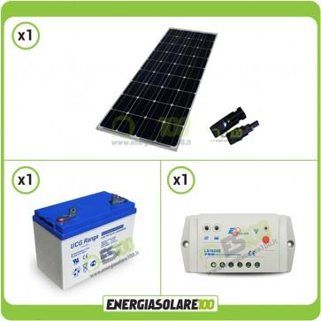 Kit Starter Solare Pro NX 100W 12V Monocristallino Batteria GEL 100Ah Regolatore PWM 10A Serie LS1024B