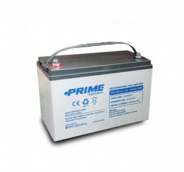 """Batteria AGM Solare Ermetica """"Prime"""" da 12V 100Ah Deep Cycle Veicoli Elettrici Impianti Solari"""