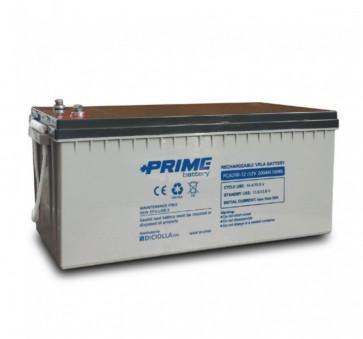 """Batteria AGM Solare Ermetica """"Prime"""" da 12V 200Ah Deep Cycle Veicoli Elettrici Impianti Solari"""