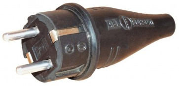 Spina schuko 230V nera in gomma - R441