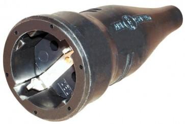 Presa schuko 230V volante in gomma nera - R541